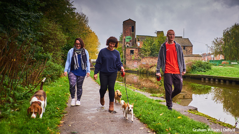 Towpath Portraits 02 - Jess, Kate and Adam with Max, Marley and Buster