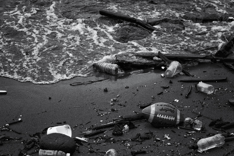 Some detritus washed up on a sliver of beach behind the Jacob Javits Convention Center.