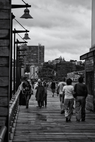 Lots of people were walking along the Hudson River and its piers around noon, after Tropical Storm Irene had mostly passed.