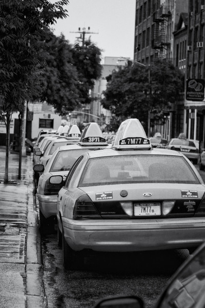 Taxis parked in Hell's Kitchen in the quiet before Hurricane Irene.