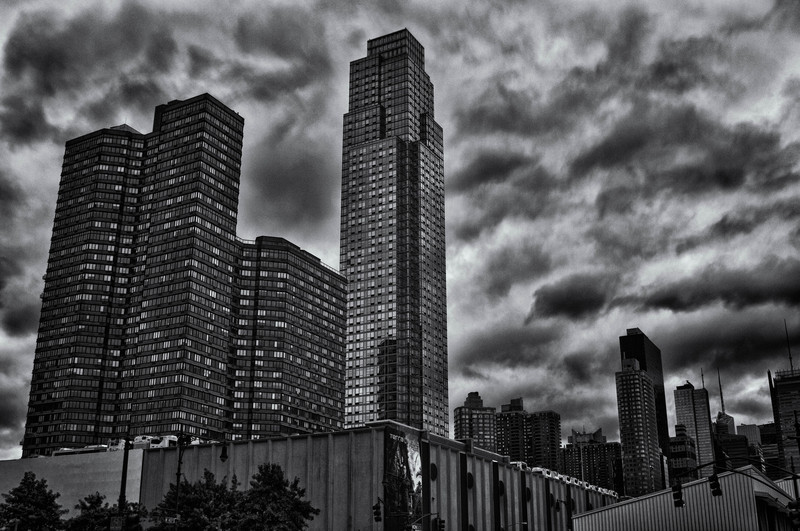 Roughly noon, after Tropical Storm Irene had mostly passed, clouds still hung over midtown.