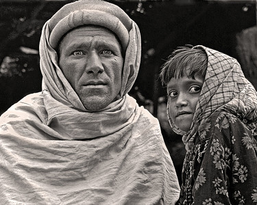 Khyber Father and Daughter Khyber Pass Pakistan 1972 10 X 8  Black and White                                                                         Exhibit opens November 1, 2013, Central Bank - Lexington KY