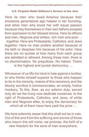 Rabbi Gittleson Sermon - Iwo Jima
