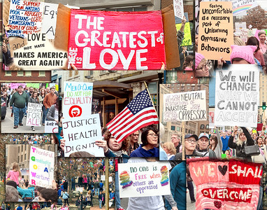 Excellent signs, love and peace - justice for all.  Re purpose the signs.    Witness.   Sentinels needed.