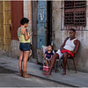 Cuba Havana Centro Family on Sidewalk March 2017
