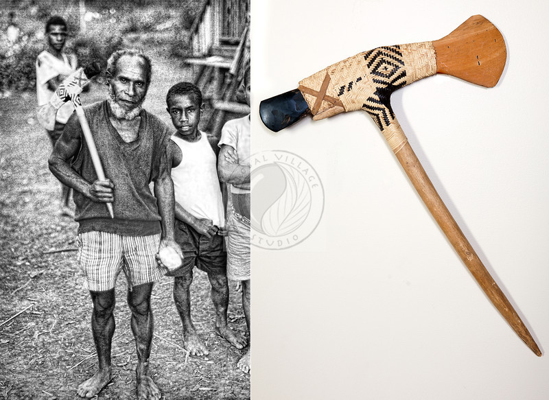 """Axe - Papua New Guinea Highlands - 15"""" X 22"""" - The axe was a gift from a village deep in the New Guinea Highlands - The village wanted our support to have a school built for them. The handle was new.  The very sharp stone head was proportedly use to kill an enemy earlier in the life of these people!"""