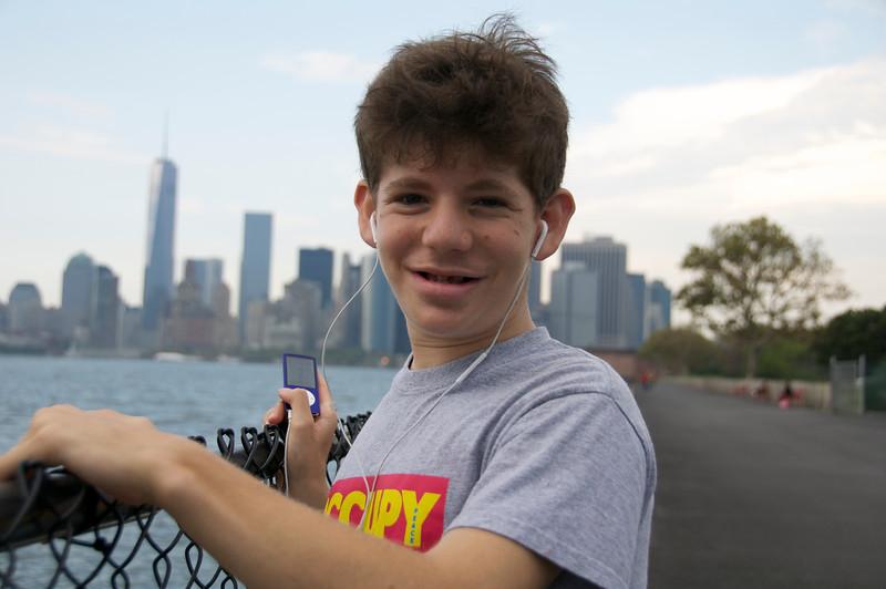 Jadey with NYC skyline on Governors Island