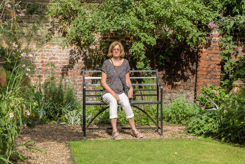 Carlyle House - Anne sitting in the walled garden