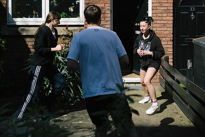 Italian housemate exercise outside their accomodation during the first of London's Covid19 lockdowns.