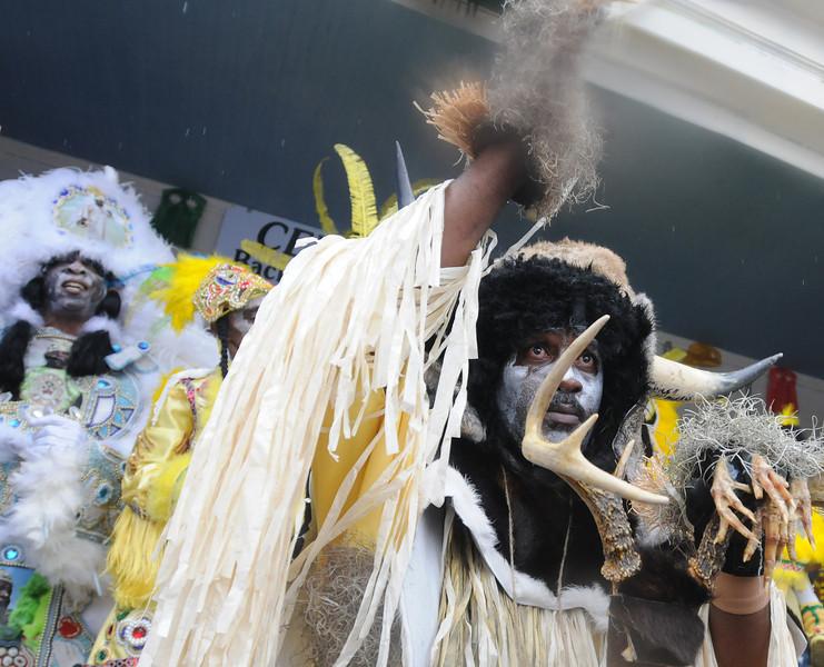 The Wild Man of the Fi-Yi-Yi tribe, Mardi Gras in New Orleans, LA , Feb. 9-12, 2013. By David Bundy