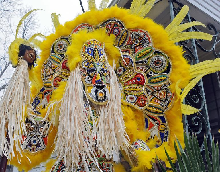 Fi-Yi-Yi tribe Big Chief Victor Harris, Mardi Gras in New Orleans, LA , Feb. 9-12, 2013. By David Bundy