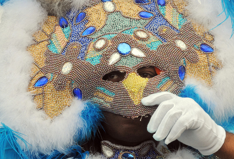 Roger Wilson, Big Chief of the Wild of the Nation tribe, Mardi Gras in New Orleans, LA , Feb. 9-12, 2013. By David Bundy