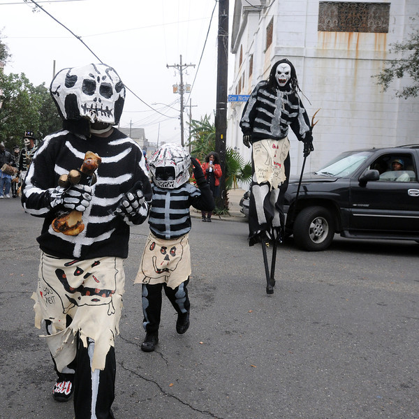 Members of the Northside Skull & Bones gang, Mardi Gras in New Orleans, LA , Feb. 9-12, 2013. By David Bundy