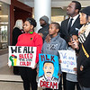 """Julian Reese and family showing their support for the event of The Reenactment of the March on Washington, """"I Have a Dream"""" speech from Dr. Martin Luther King Jr. Perfrormed by Amarillo's Julian Reese at the JBK Student Center on WTAMU campus in Canyon, TX. January 22, 2018. [Shaie Williams for Amarillo Globe News]"""