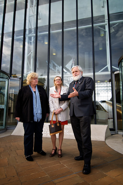 Day 2: Chrys Stevenson (blogger), Maria Proctor (Queensland Humanist Society), and Dierk Von Behrens (Political Activist) discussing the case at the end of the second day of court proceedings outside the High Court of Australia, Canberra.
