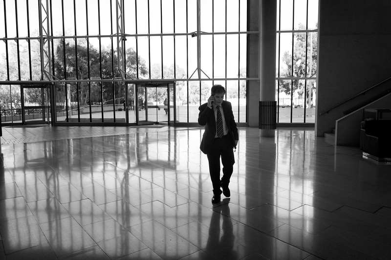 Day 1: Ron Williams as he walks through the High Court of Australia into the first court session.