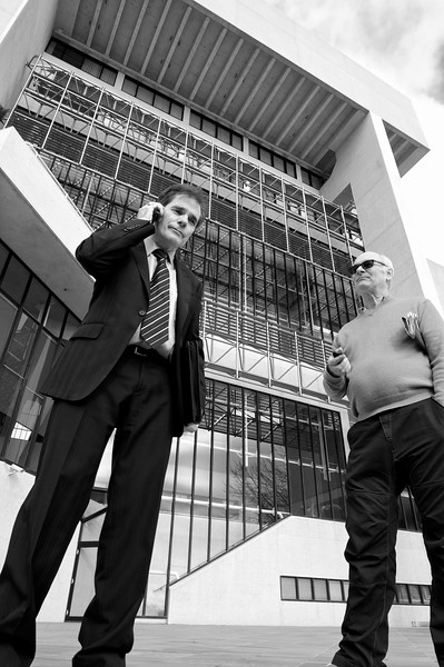 Day 1: Ron Williams and Hugh Wilson after the first session adjourns. High Court of Australia, Canberra.