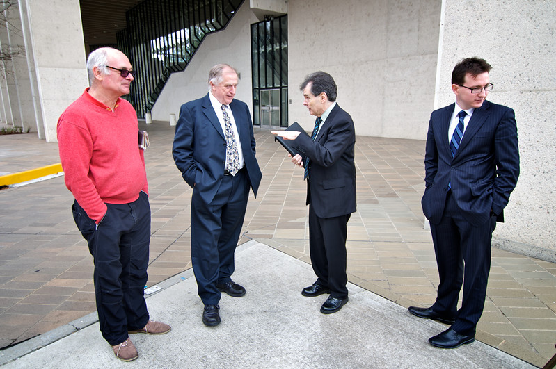 Day 1: Hugh Wilson (friend and close supporter), Claude Bilinsky (Solicitor), Ron Williams, Lliam (Solicitor) outside High Court of Australia, Canberra.