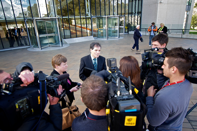 Day 1: Ron Williams interviewed by media outside High Court of Australia, Canberra.