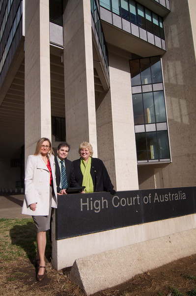 Day 1: Maria Proctor (Humanist Society of Queensland), Ron Williams, and Chrys Stevenson (Blogger). High Court of Australia, Canberra.