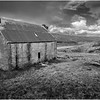 Scotland Wester Ross A896 Abandoned Cottage BW 1 May 2019