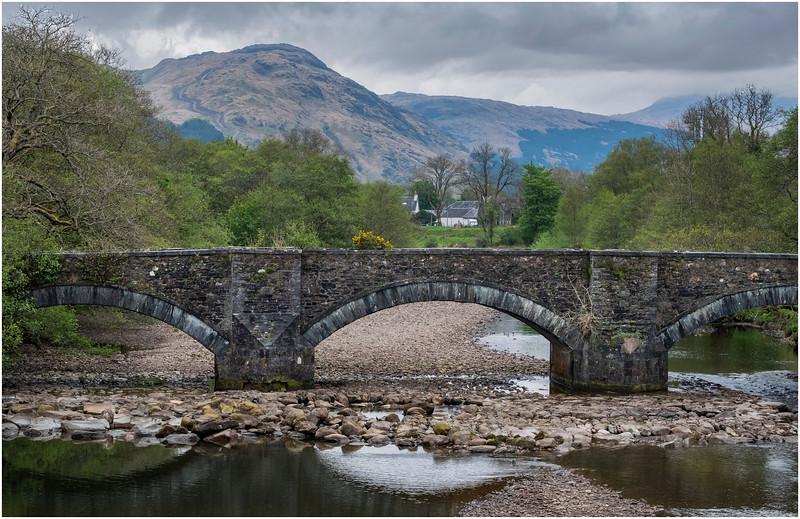 Scotland Bridge in River Fyne at head of Loch Fyne Achadunan 3 May 2019