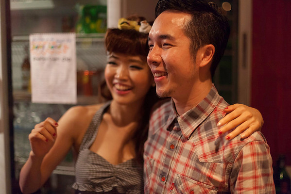 """Founder/Director Oat Naviroj and Partner/Club Manager Young Ji Kim """"Billy Blues"""": Rockabilly and Blues Party at The Hop - Swing Dance Club, Silom, Bangkok."""