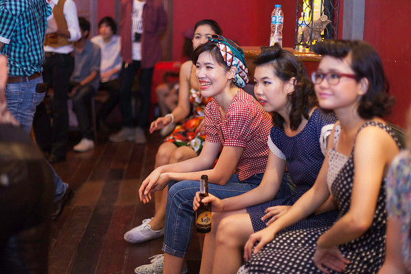 """Local enthusiasts wait their turn. """"Billy Blues"""": Rockabilly and Blues Party at The Hop - Swing Dance Club, Silom, Bangkok."""