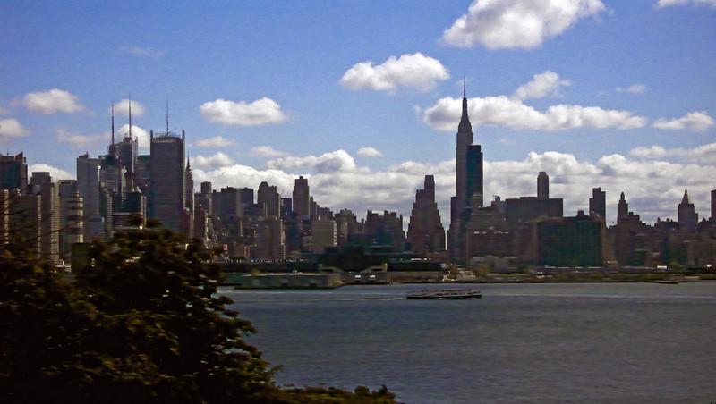 Manhattan Skyline from Bus in New Jersey 2008