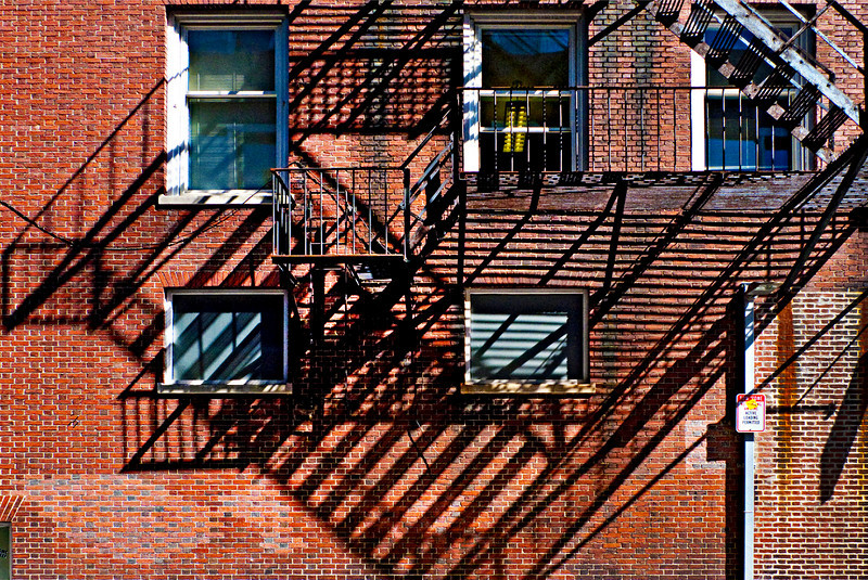 Windows and Fire Escape, Palmer Street, Harvard Square, Cambridge, MA 2010