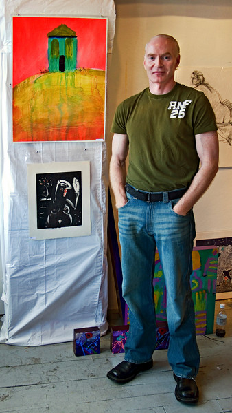 Painter Kenny Mac In His Studio, Boston, MA 2007