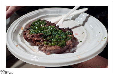 The end product -  a nice ~100gr of well-medium well steak with Chimichurri sauce