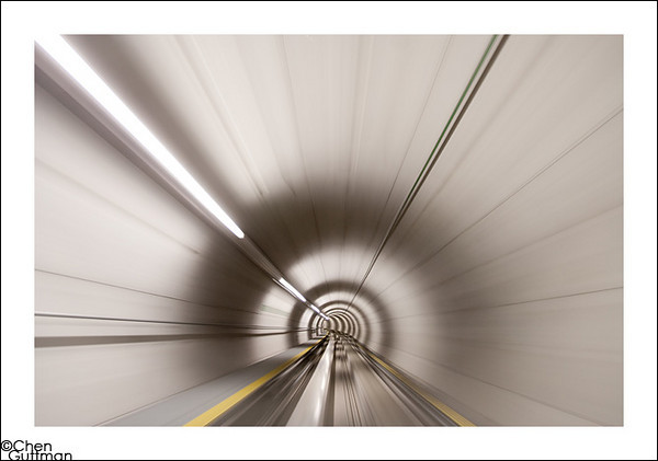 In the tunnel back toward EL-AL terminal (or as Natalie put it: like electrons flying down the particle accelerator)