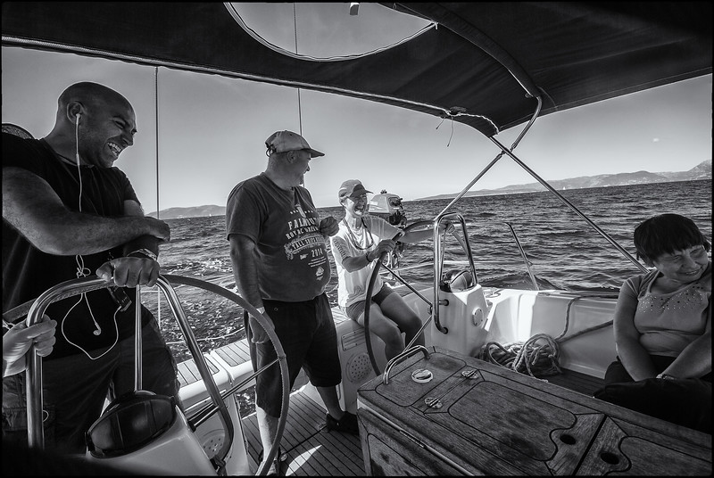The crew of Blue Spirit enjoying a joke with Liz at the Helm