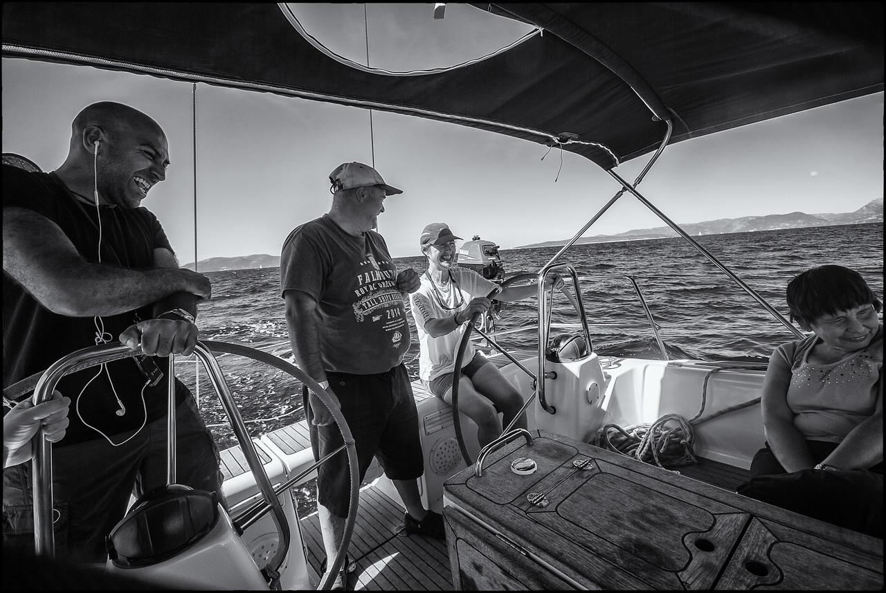 The crew of Blue Spirit enjoying a joke with Liz at the Helm