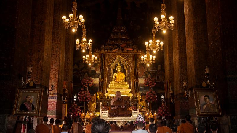 Monks at prayer - Bangkok, Thailand