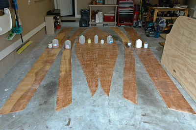 Once encapsulated with epoxy resin they were all butt glued together. It still dosen't look like a boat. I am now committed at this point and my wife seems to have some doubts. (I have never done this before.)
