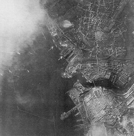 "<center><font size=3><u> - Aerial Photo Brest - 28 Mar 1944 -  </u></font> (BS0316) </center> Taken by Pilot Officer Gordon Brown of the Photographic Recconaissance Unit (PRU)at RAF Benson.  See ""Benson - A Century of Change"", pages 136 to 139."
