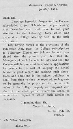 <font size=3><u> - Letter from Magdalen College - 1903 </u></font> (BS0137B)