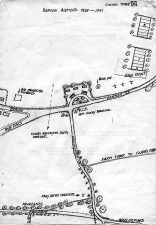 "<font size=3><u> - Benson Airfield - </u></font> (BS0420)  This and BS0421 below are sketch maps drawn from memory by Jack Wheeler featuring that part of the airfield occupied by the KCB garage and cafe.  He  remembers the first squadron of Fairy Battles landing at the airfield and totally distracting his Benson School football team, who were playing against St Johns School, Wallingford. Mr Bennett, the schoolmaster, had great difficulty getting the lads back to finish the match, so exciting was the event!  He also saw a Junkers 88 bomber joining in with the Fairy Battles doing ""circuits and bumps""and sneakily dropping his bombs under their cover. Fortunately there were no casualties."