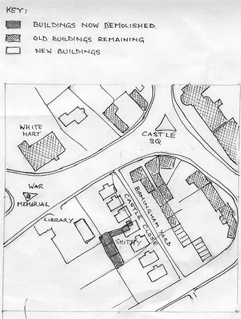 <font size=3><u> - Castle Close/Birmingham Yard - </u></font> (BS0418)  Hand-drawn map of Birmingham Yard/ Castle Close by 1970s (by Garrow Smith)