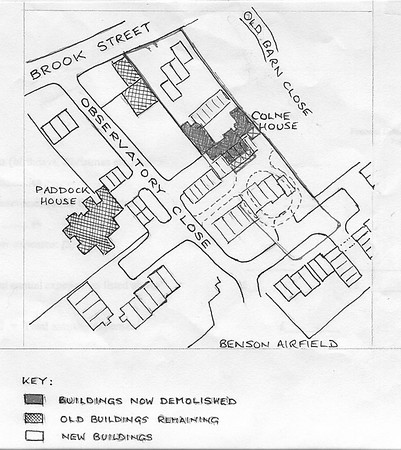 <font size=3><u> - Colne House - </u></font> (BS0419)  Hand-drawn map of Paddock house and the demolished Colne House(no date?) (by Garrow Smith)