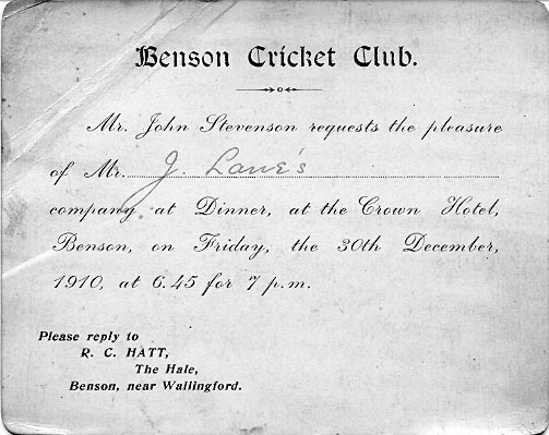 <font size=3><u> - Cricket Club Invitation - </u></font> (BS0251)  Invitation to BCC dinner at the Crown.