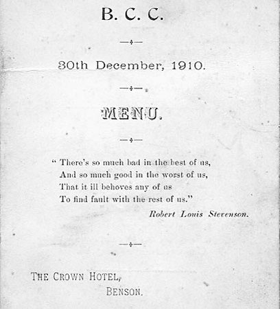 <font size=3><u> - Menu -  </u></font> (BS0252)  BCC 30.12.1910 - Menu - Crown Hotel