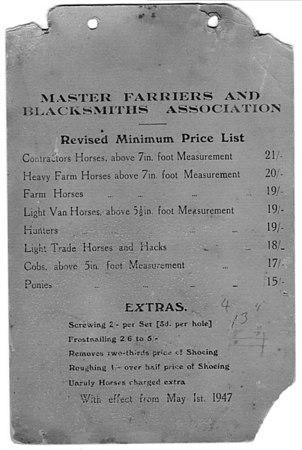 <font size=3><u> - Farriers Price List -  </u></font> (BS0270)  As of 1st May 1947