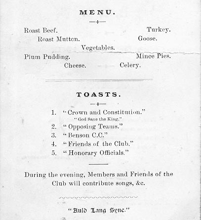 <font size=3><u> - Menu -  </u></font> (BS0253)  BCC 30.12.1910 - Menu - Crown Hotel