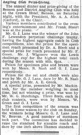<font size=3><u> - Angling Club Prize Giving -  </u></font> (BS0271)  News cutting from Berks& Oxon Advertiser 26 Jan 1936.