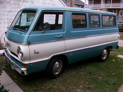 Velma is a 1966 Dodge A100 Custom Sportsman with a 273-V8 and a 3spd Manual on the column.  She was a documented one-owner with low miles when I found her.