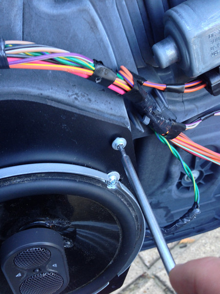 """Mounting aftermarket speaker and speaker adapter  from  <a href=""""http://www.car-speaker-adapters.com/items.php?id=SAK045""""> Car-Speaker-Adapters.com</a>   to door"""