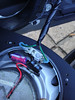 New wiring with spade terminals wired to aftermarket speaker